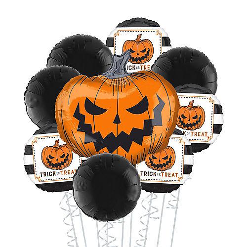 Scary Jack-O'-Lantern Halloween Balloon Bouquet, 9pc Image #1