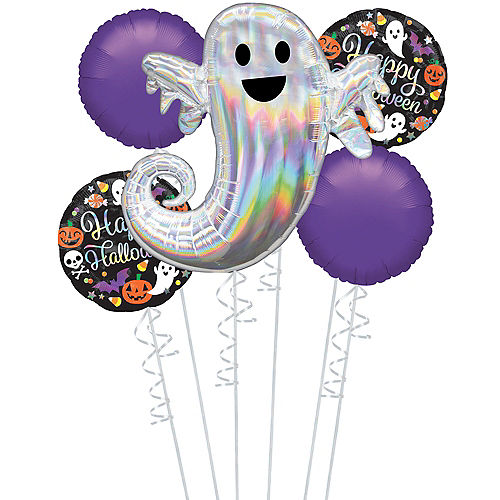 Glowing Ghost Happy Halloween Balloon Bouquet, 5pc Image #1