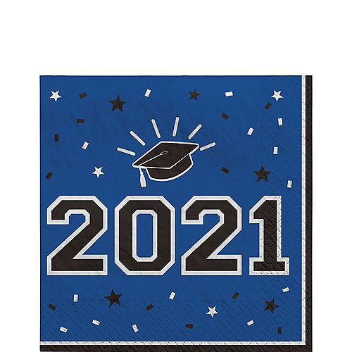 School Colors Pride Blue 2021 Graduation Lunch Napkins, 6.5in, 40ct Image #1
