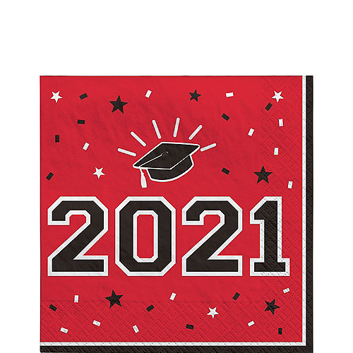 School Colors Pride Red 2021 Graduation Lunch Napkins, 6.5in, 40ct Image #1