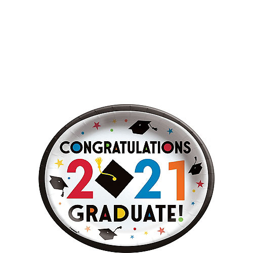 Congratulations 2021 Graduation Oval Paper Plates, 12in x 10in, 20ct Image #1