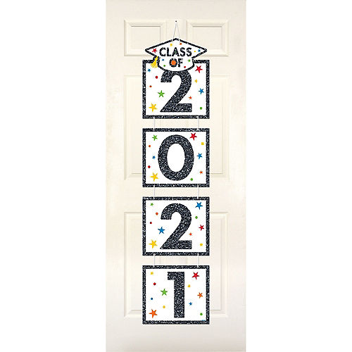 Glitter Multicolor Class of 2021 Graduation Stacked Sign Image #1