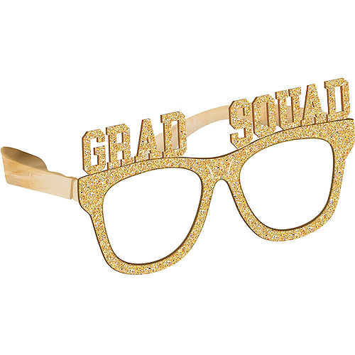 Gold Glitter Grad Squad Plastic Glasses, 6ct Image #1