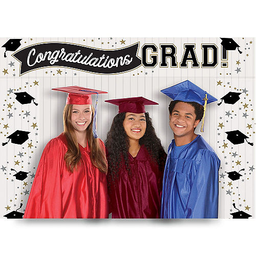 Black, Silver & Gold Congratulations Grad Scene Setter Add-On, 3pc Image #1
