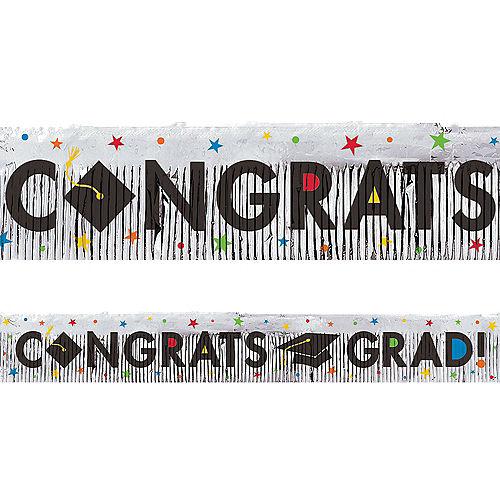 Multicolor Congrats Grad Foil Fringe Banner Image #1