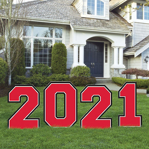 Red 2021 Graduation Plastic Yard Signs, 4pc Image #1
