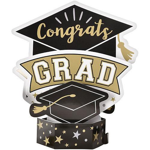 Black, Silver & Gold Congrats Grad Centerpiece Image #1