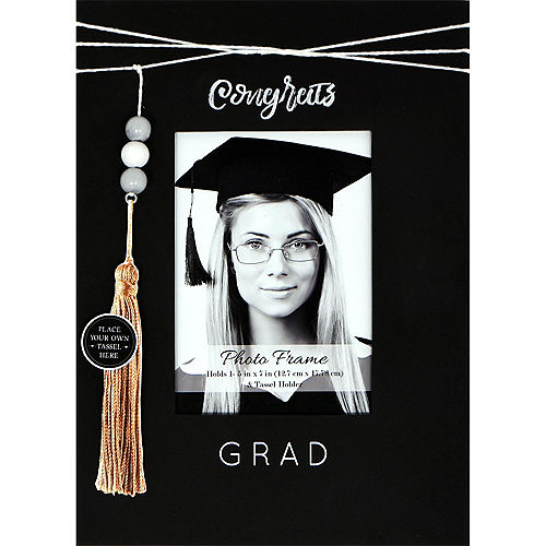 Beaded Congrats Grad Fiberboard Photo Frame, 5in x 7in Image #2