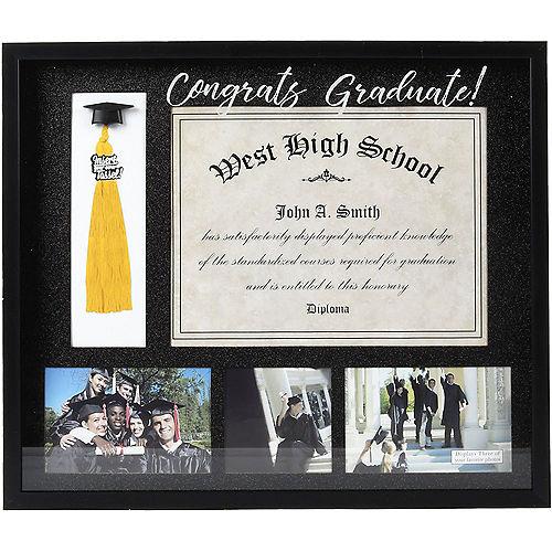 Congrats Graduate Diploma, Photo & Tassel Plastic Frame, 18in x 15.5in Image #1