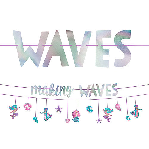 Iridescent Shimmering Mermaids Making Waves Banners, 12ft, 2ct Image #1