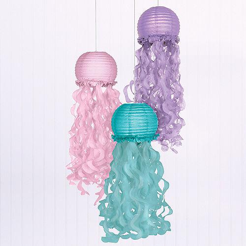 Shimmering Mermaids Jellyfish Paper Lanterns, 9.5in, 3ct Image #1