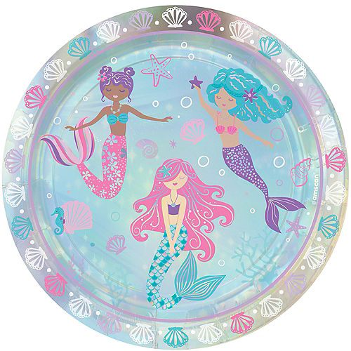Iridescent Shimmering Mermaids Paper Lunch Plates, 9in, 8ct Image #1
