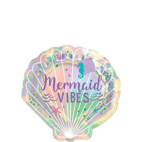 Iridescent Mermaid Wishes Shell-Shaped Paper Dessert Plates, 7.5in, 8ct Image #1