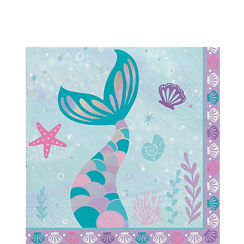Shimmering Mermaids Paper Lunch Napkins, 6.5in, 16ct Image #1
