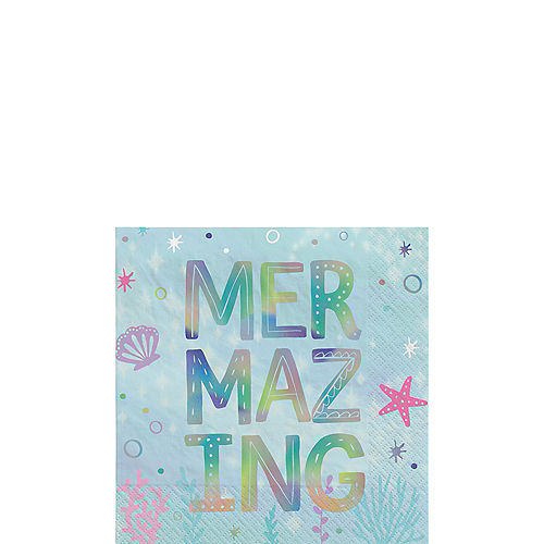 Iridescent Shimmering Mermaids Paper Beverage Napkins, 5in, 16ct Image #1
