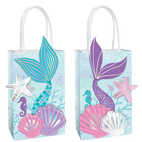 Iridescent Shimmering Mermaids Create Your Own Kraft Favor Bag Kit, 5.25in x 8.4in, 8ct Image #1