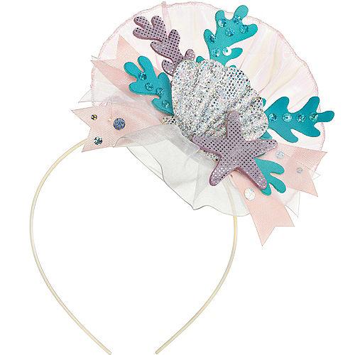 Iridescent Shimmering Mermaids Seashell Fabric & Plastic Headband, 4.5in x 9in Image #1