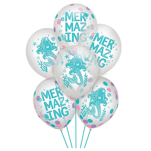 Shimmering Mermaids Confetti Latex Balloons, 12in, 6ct Image #1