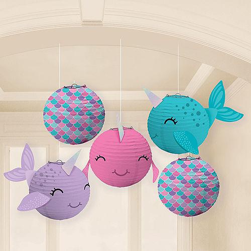 Mini Shimmering Mermaids Narwhal Paper Lanterns, 5in, 5ct Image #1