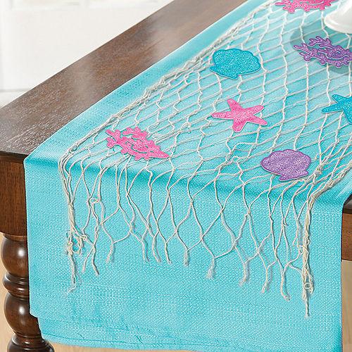 Glitter Shimmering Mermaids Fishnet Table Runner Decorating Kit, 13pc Image #1