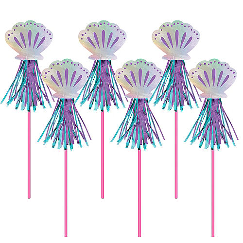 Iridescent Shimmering Mermaids Seashell Wands, 17.8in, 6ct Image #1
