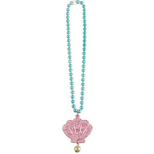 Glitter Shimmering Mermaids Seashell Pendant Plastic Bead Necklace, 17in Image #1