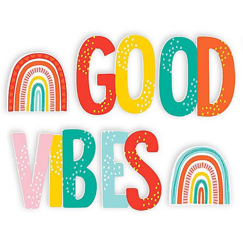 Good Vibes Plastic Letter Yard Sign Set - Retro Rainbow Image #2