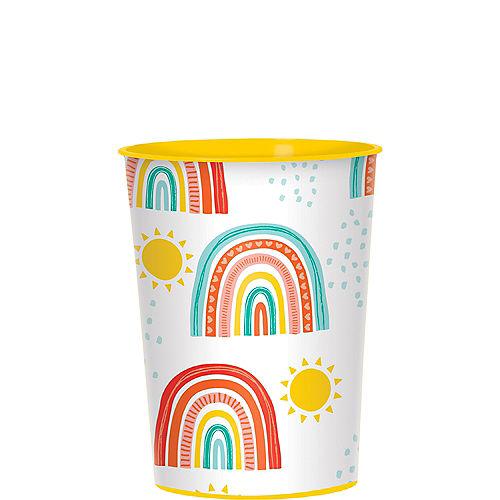 Retro Rainbow Plastic Favor Cup, 16oz Image #1