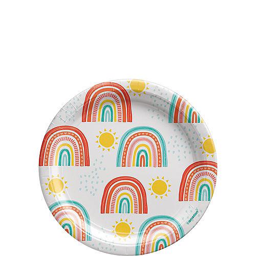 Retro Rainbow Dessert Plates, 7in, 8ct Image #1