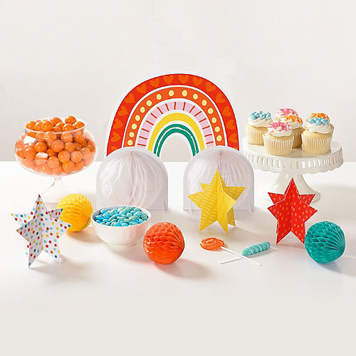 Retro Rainbow Table Decorating Kit, 7pc Image #1