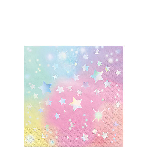 Iridescent Luminous Rainbow Star Paper Beverage Napkins, 5in, 16ct Image #1