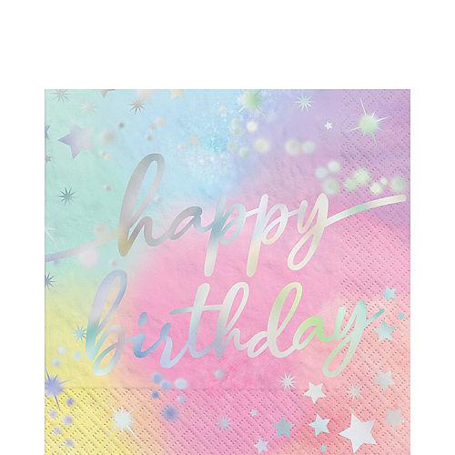 Iridescent Luminous Rainbow Birthday Paper Lunch Napkins, 6.5in, 16ct Image #1
