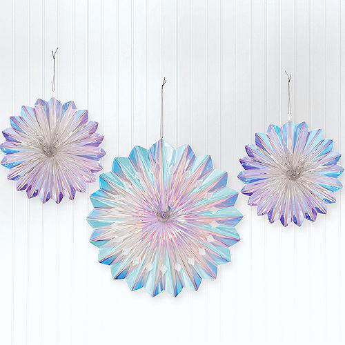 Iridescent Luminous Rainbow Foil Fan Decorations, 3ct Image #1