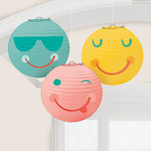 All Smiles Smiley Face Paper Lanterns, 9.5in, 3ct Image #1