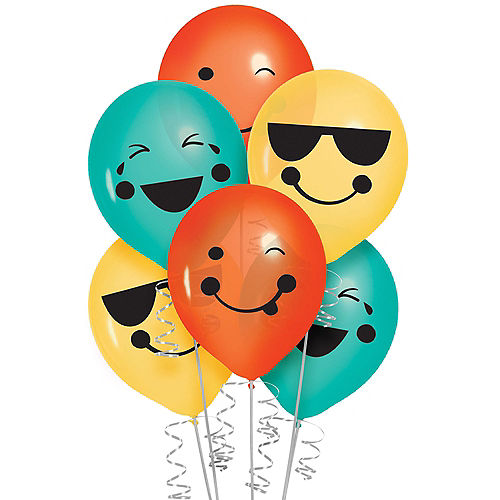 All Smiles Smiley Face Latex Balloons, 12in, 6ct Image #1