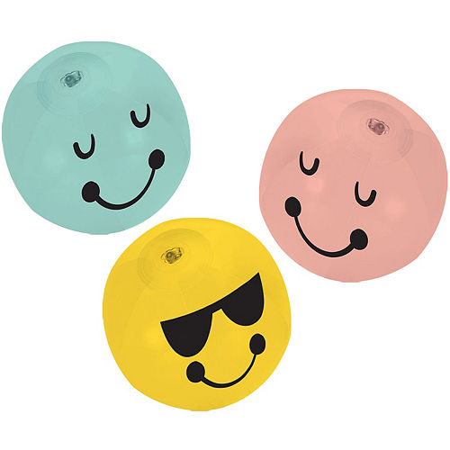 Nav Item for All Smiles Smiley Face Inflatable Vinyl Balls, 5in, 8ct Image #1