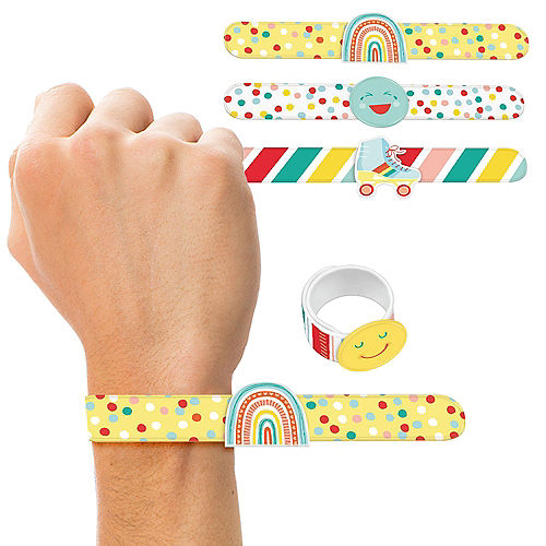 All Smiles Smiley Face Plastic Slap Bracelets, 8.9in, 4ct Image #1
