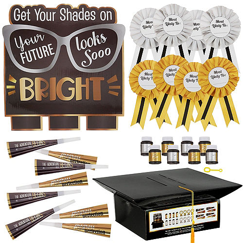 Black, Silver & Gold Bright Future Graduation Party Kit for 8 Guests Image #1