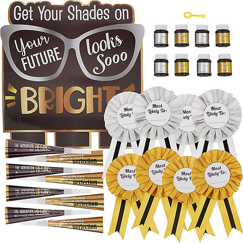 Black, Silver & Gold Bright Future Graduation Party Kit for 8 Guests Image #2