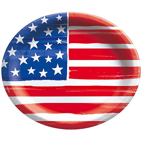 Painted Patriotic American Flag Oval Paper Plates, 12in x 10in, 20ct Image #1