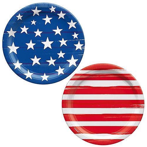 Painted Patriotic American Flag Paper Dessert Plates, 6.75in, 50ct Image #1