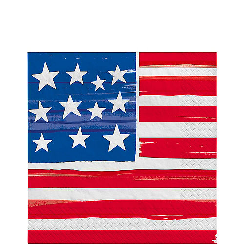 Painted Patriotic American Flag Lunch Napkins, 6.5in, 100ct Image #1