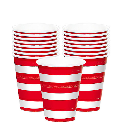 Painted Patriotic Striped Paper Cups, 9oz, 50ct Image #1
