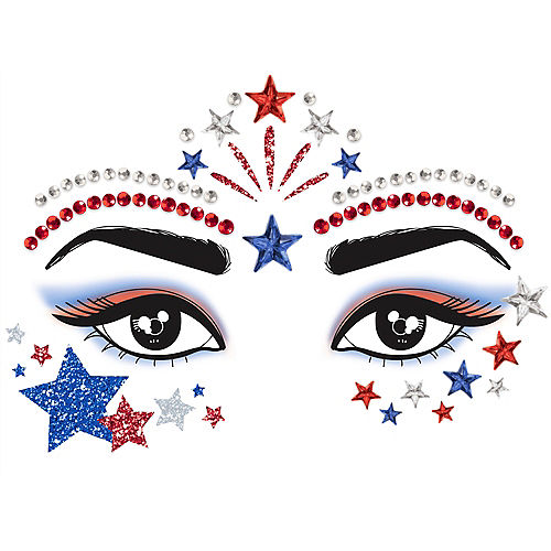 Red, White & Blue Patriotic Face Jewels Image #1