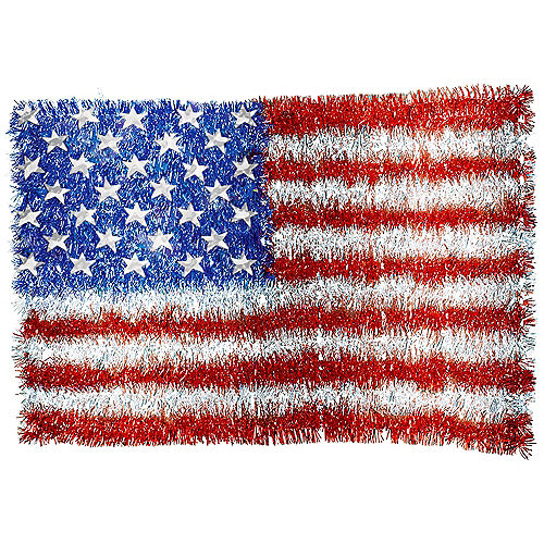 Hanging American Flag Tinsel Decoration, 19in x 12.86in Image #1