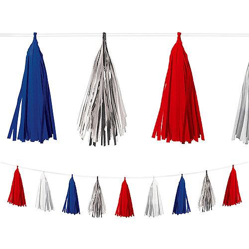 Red, White & Blue Patriotic Tissue Paper & Foil Tassel Garland, 10ft x 10in Image #1