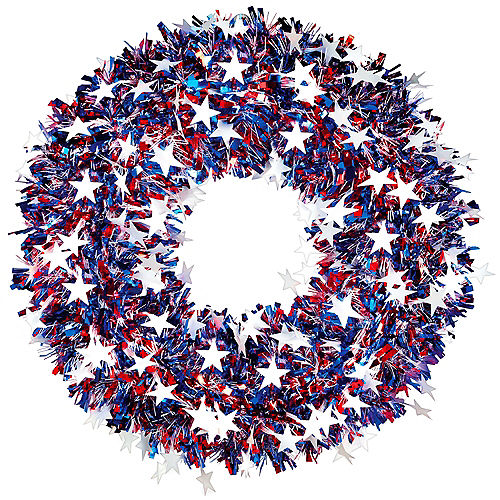 Red, White & Blue Patriotic Star Tinsel Wreath, 18in Image #1