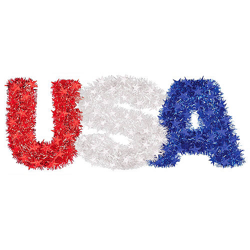 Hanging Red, White & Blue USA Tinsel Decoration, 22.8in x 8.3in Image #1