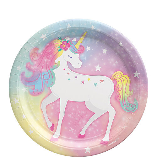 Enchanted Unicorn Round Paper Lunch Plates, 9in, 8ct Image #1