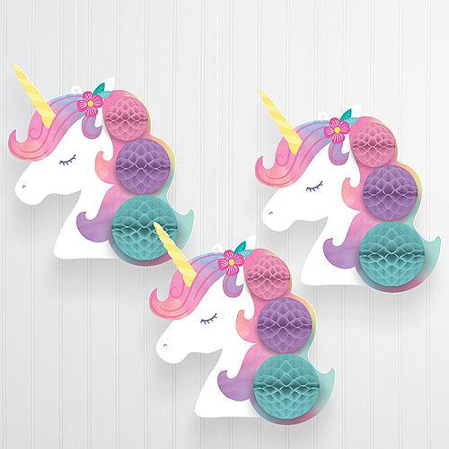 Enchanted Unicorn Honeycomb Decorations, 3ct Image #1